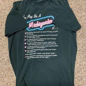 Vintage 90s Michigan t shirt promo script letters